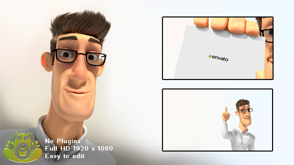 corporate logo with 3d character by fleabagfrog videohive