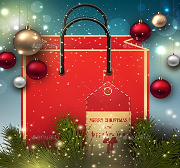 Christmas Background with Present Bag - Seasons/Holidays Conceptual