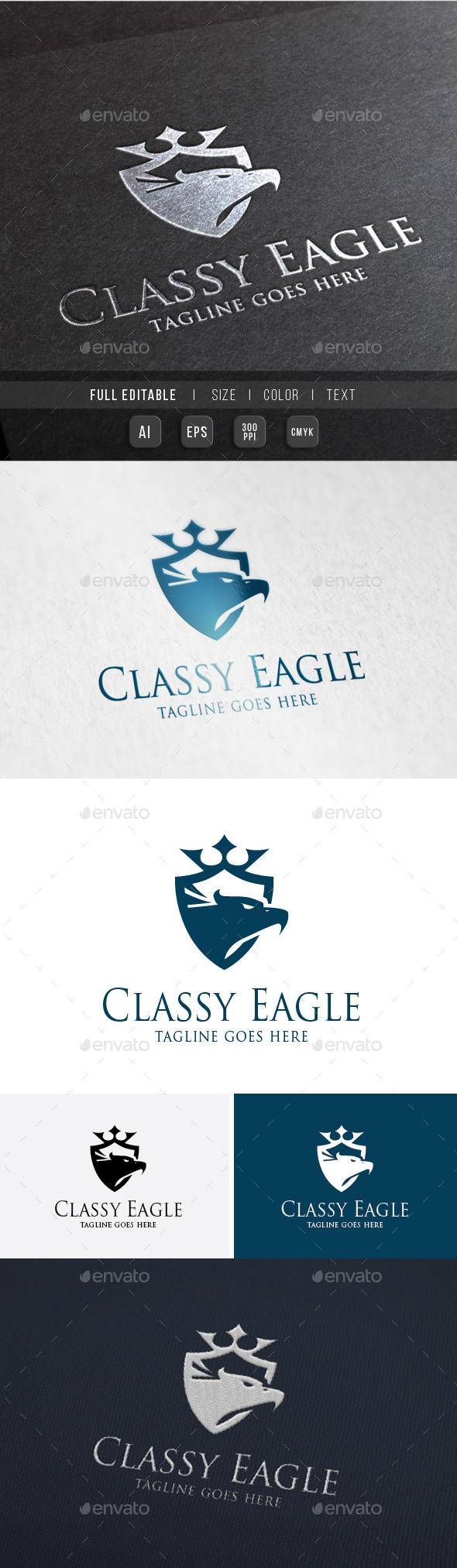 Classy Royal Eagle Bird - Crests Logo Templates