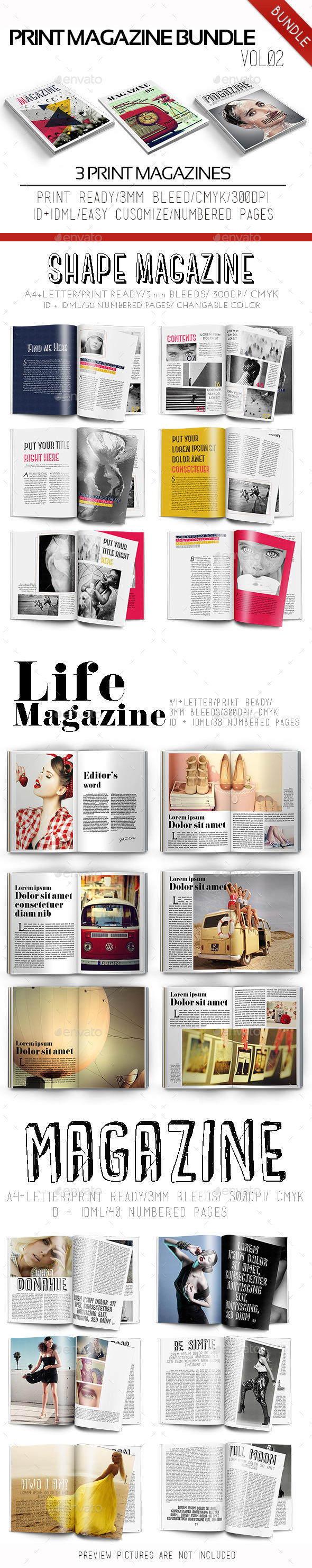Print Magazine Bundle Vol.02 - Magazines Print Templates