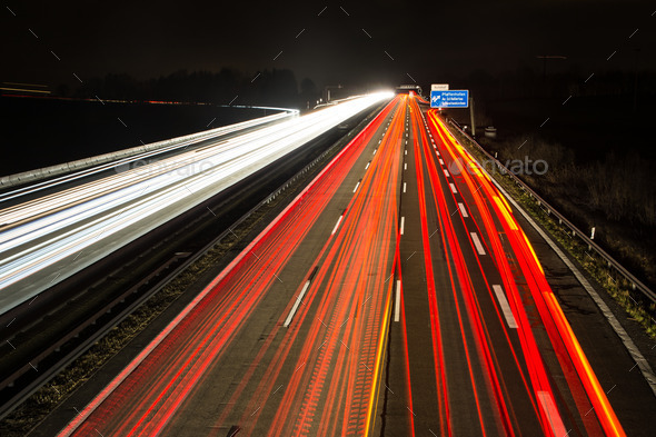Light Trails on the Highway - Stock Photo - Images