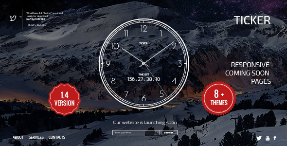 TICKER: Responsive Countdown Clock Landing Page