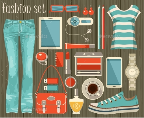 Fashion Set in a Style Flat Design - Commercial / Shopping Conceptual