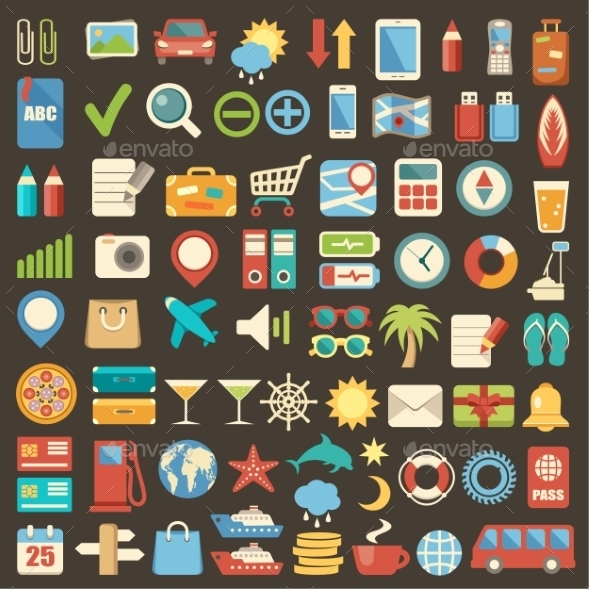 Flat Icon Set - Travel Conceptual