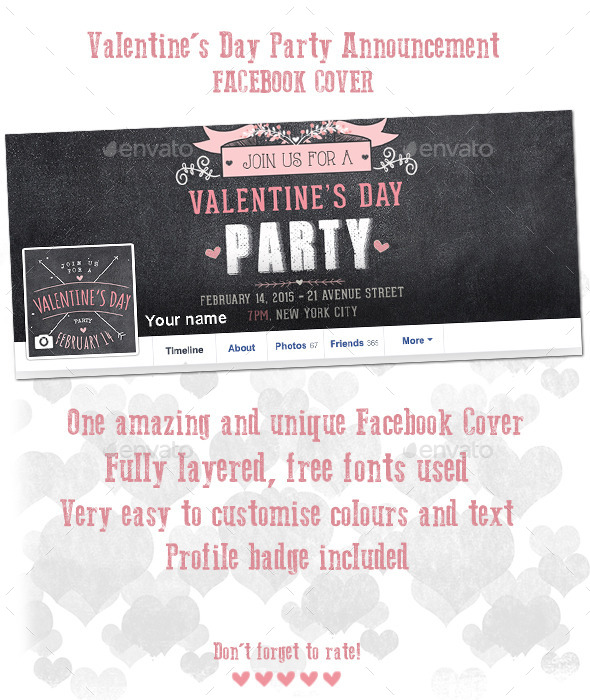 Valentine's Day Party Announcement Facebook Cover - Facebook Timeline Covers Social Media