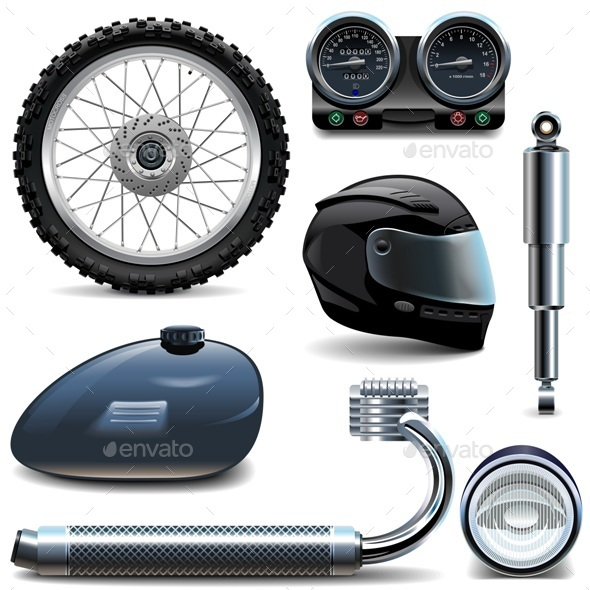 Motorcycle Spares Icons - Industries Business