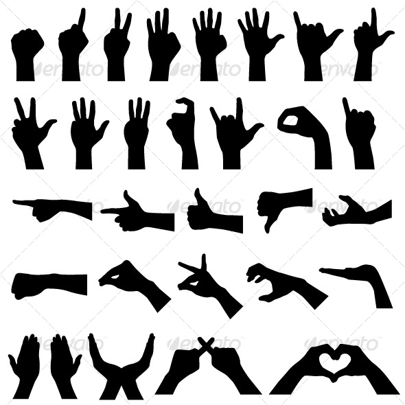 Hand Sign Gesture Silhouettes in Vector - People Characters