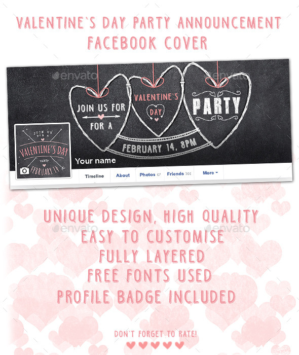 Valentine's Day Party Facebook Cover - Facebook Timeline Covers Social Media