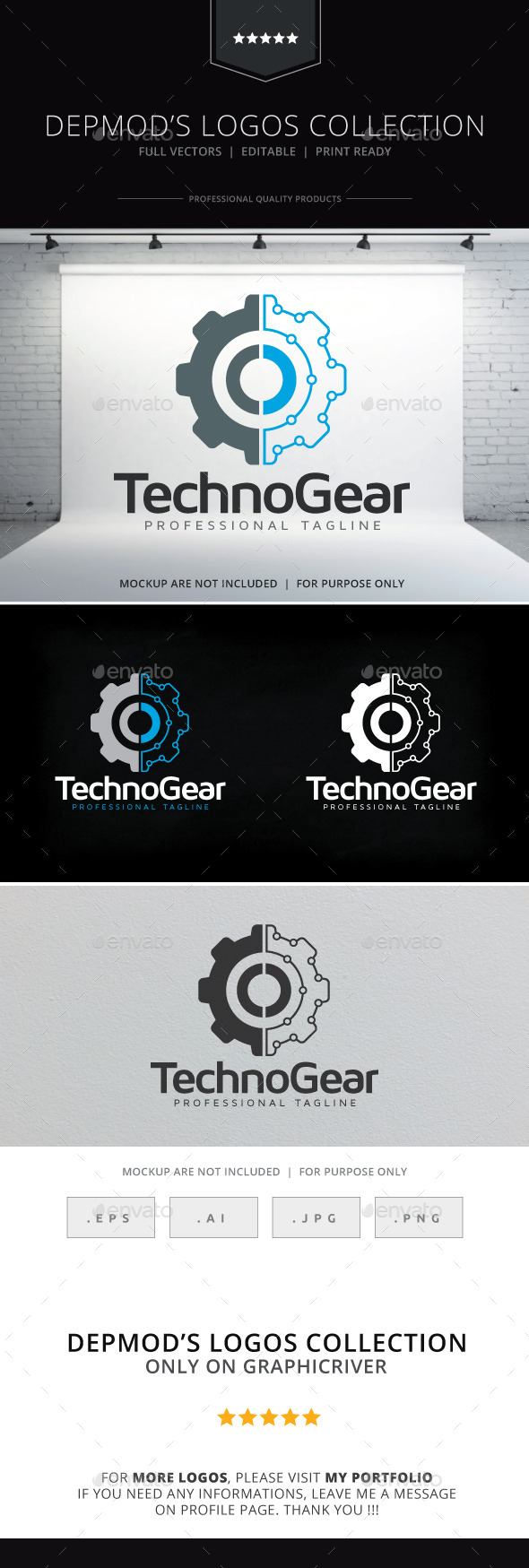 Techno Gear Logo - Objects Logo Templates