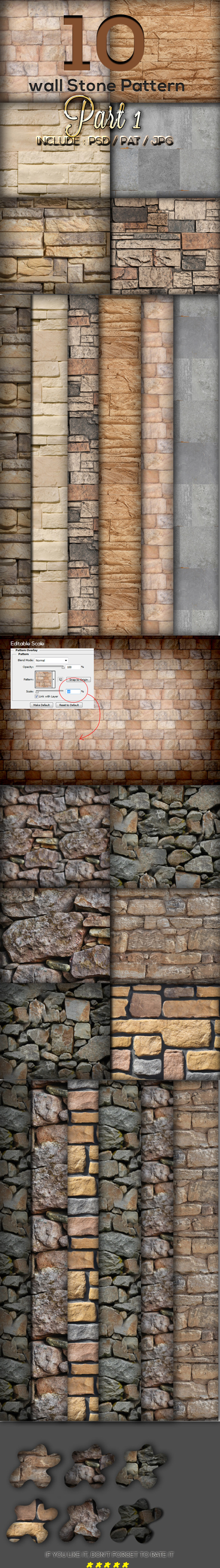 10 Wall Stone Pattern Part 1 - Textures / Fills / Patterns Photoshop