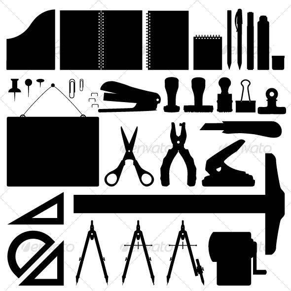 Office Stationery Set Vector - Man-made Objects Objects