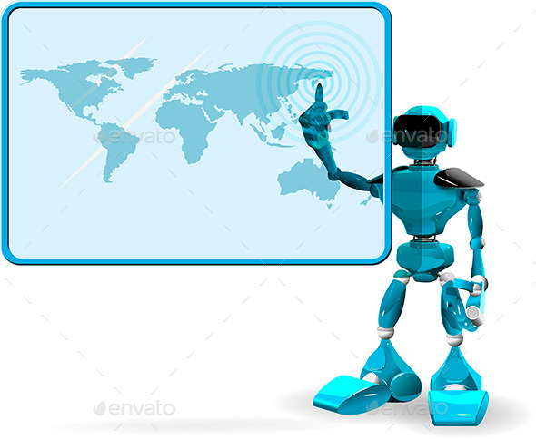 Blue Robot and Screen - Technology Conceptual