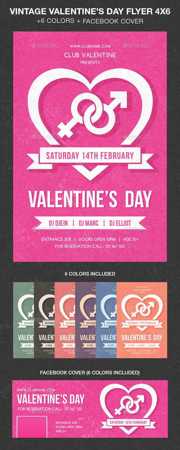 Vintage Valentine Day Party Flyer - Events Flyers