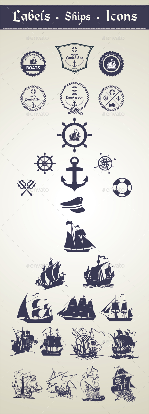 Oceanic Label and Ships - Decorative Vectors