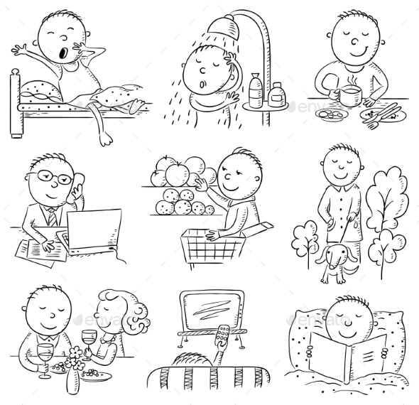 Cartoon Man Daily Activities - People Characters
