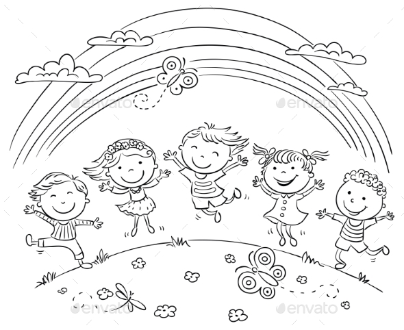 Kids Jumping With Joy on a Hill Under Rainbow - People Characters
