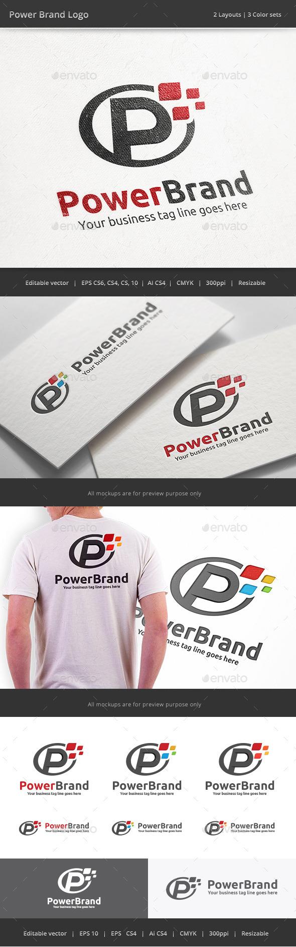 Power Brand Letter P Logo - Letters Logo Templates