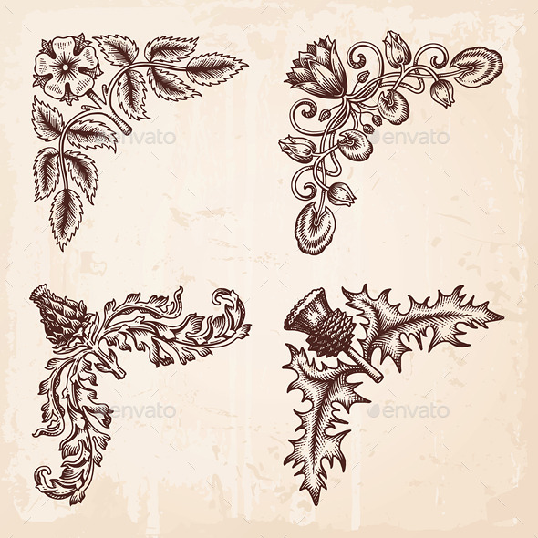 Hand Drawn Vintage Design Elements Corners - Flourishes / Swirls Decorative