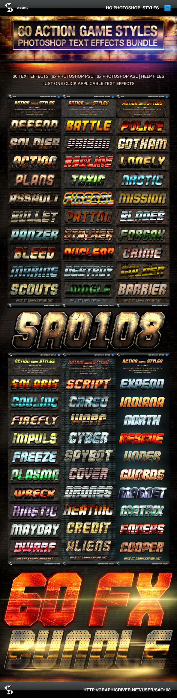 Action Game Styles Bundle - 60 Text Effects - Text Effects Styles