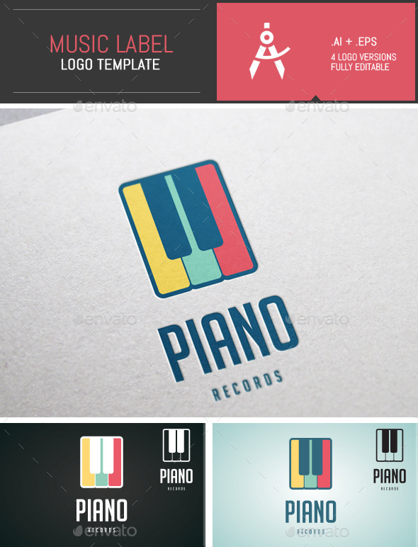 Colored  Music Label Vector Logo Template - Objects Logo Templates