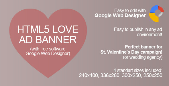 HTML5 Love Ad Banner - CodeCanyon Item for Sale
