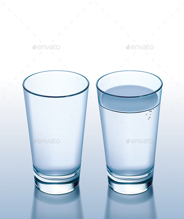 Glass with Water and Empty - Food Objects