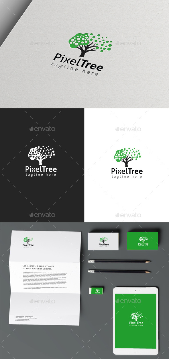 Pixel Tree - Nature Logo Templates