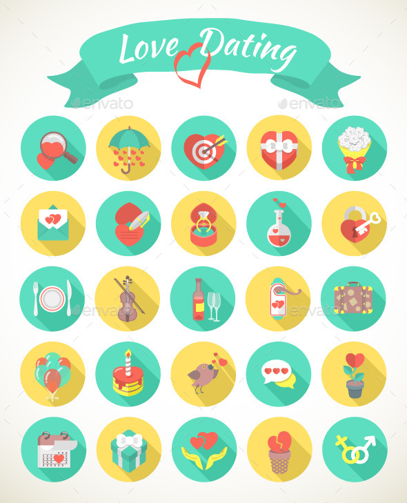 Round Love and Dating Flat Icons with Long Shadows - Abstract Icons