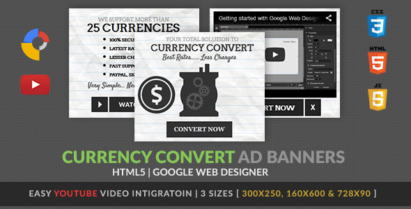 Currency Convert GWD HTML5 Ad Banner - CodeCanyon Item for Sale