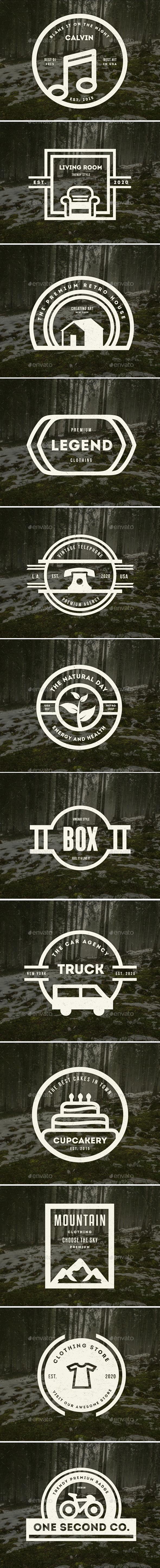 12 Vintage Logos Labels & Badges - Badges & Stickers Web Elements