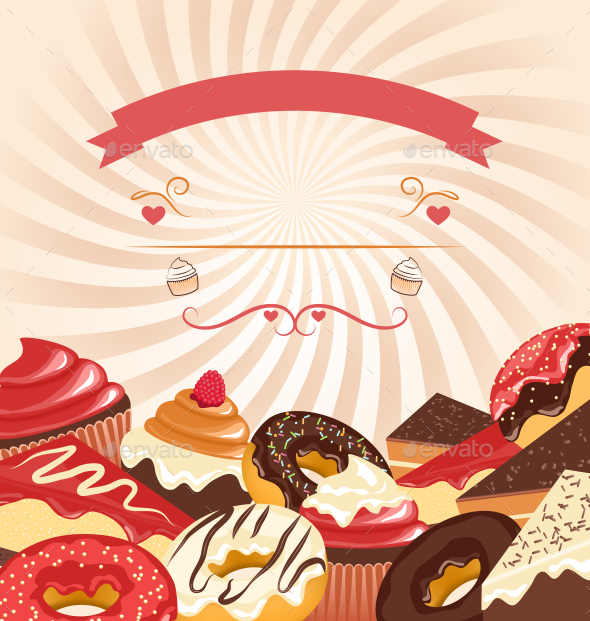 Sweets with Radial Stripes on Beige Background - Food Objects