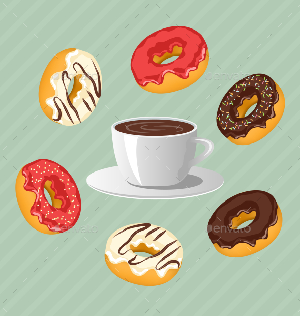 Donuts with Cup of Coffee on Blue Background - Food Objects