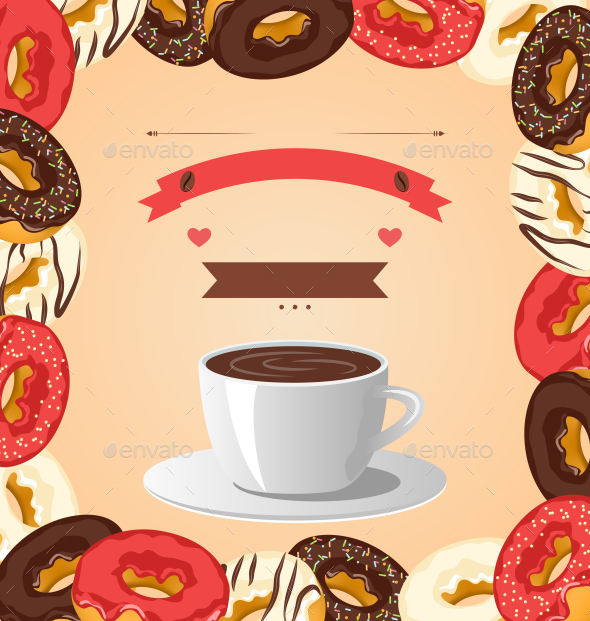 Donuts with Cup of Coffee on Beige Background - Food Objects