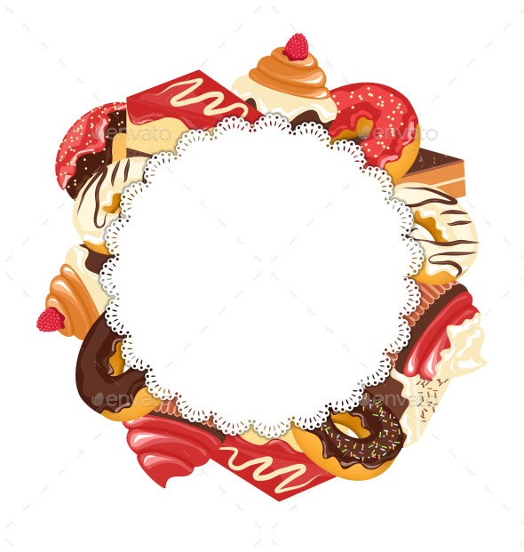 Lace Frame with Confectionery - Food Objects