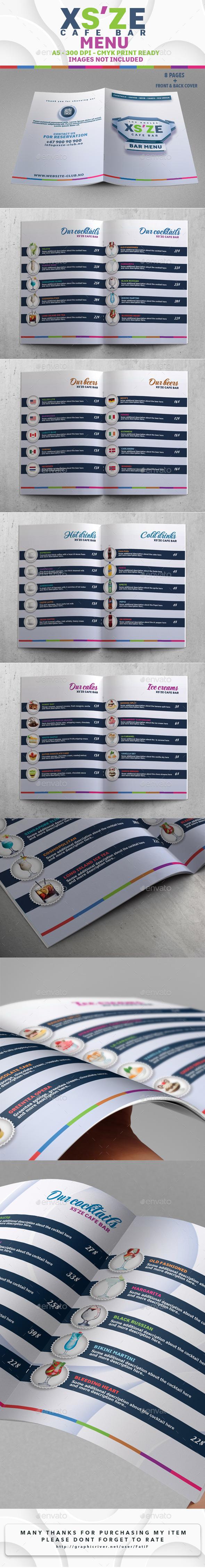 XS'ZE Cafe Bar Menu - Food Menus Print Templates