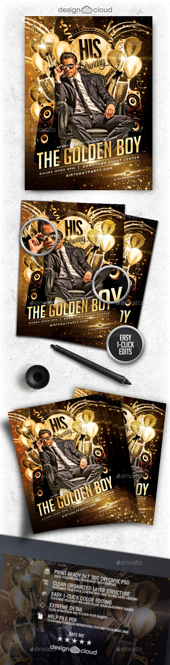 Golden Boy Birthday Flyer Template - Clubs & Parties Events