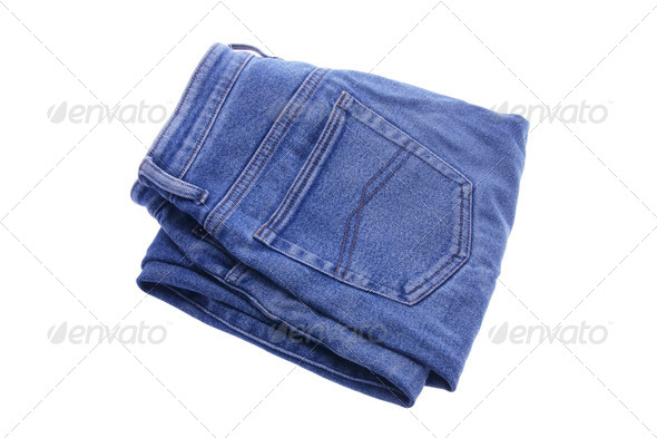 Pair of Folded Denim Jeans - Stock Photo - Images
