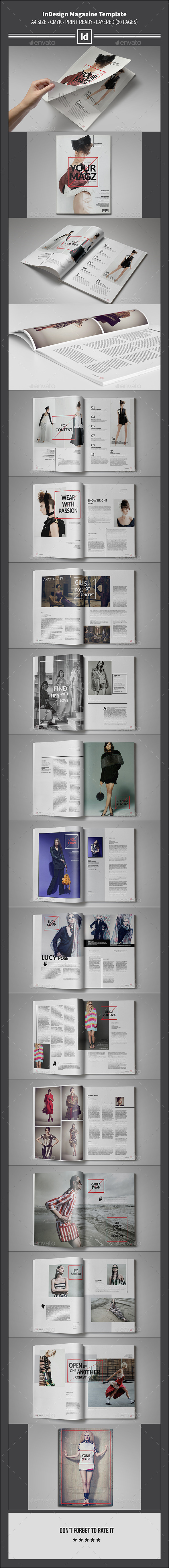 InDesign Magazine Template 30 Pages - Magazines Print Templates