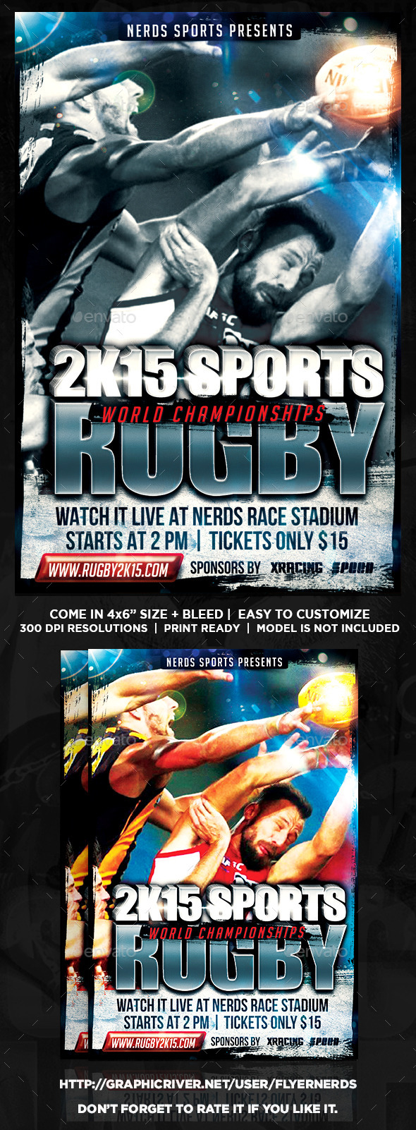 Rugby 2K15 Championships Sports Flyer - Sports Events