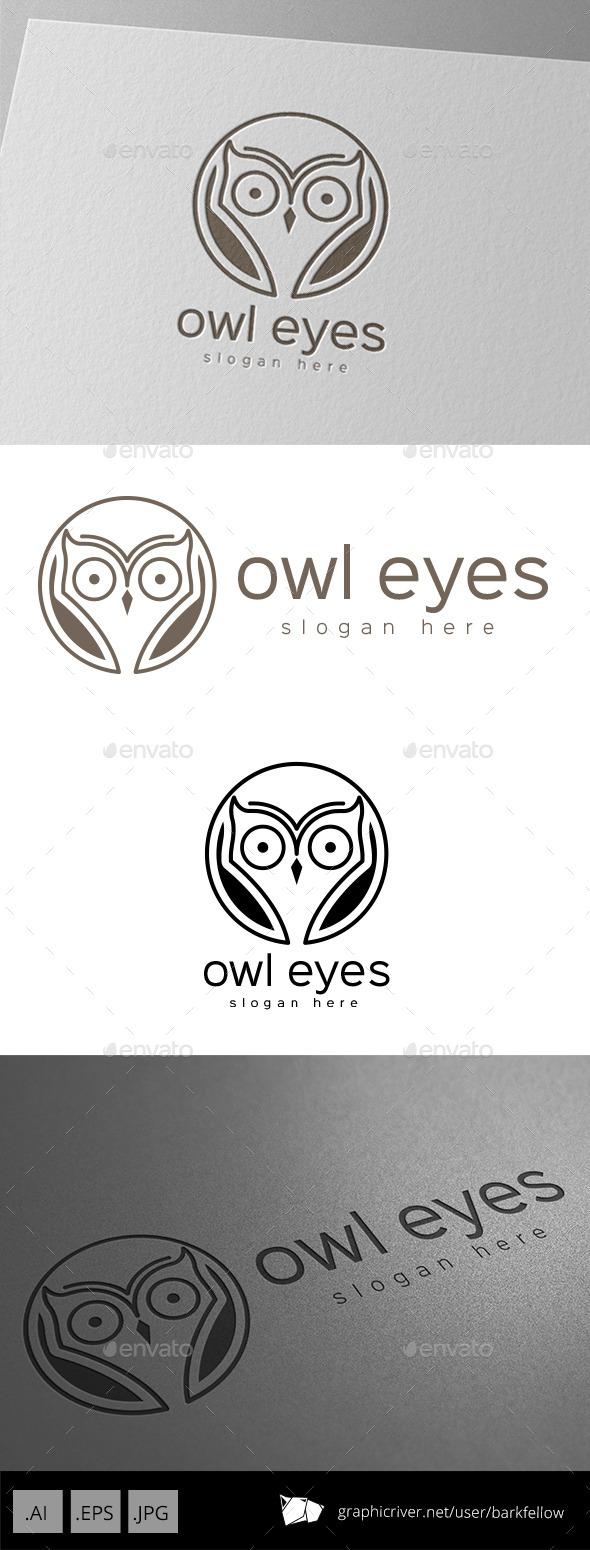 Owl Bird Eyes Logo - Animals Logo Templates