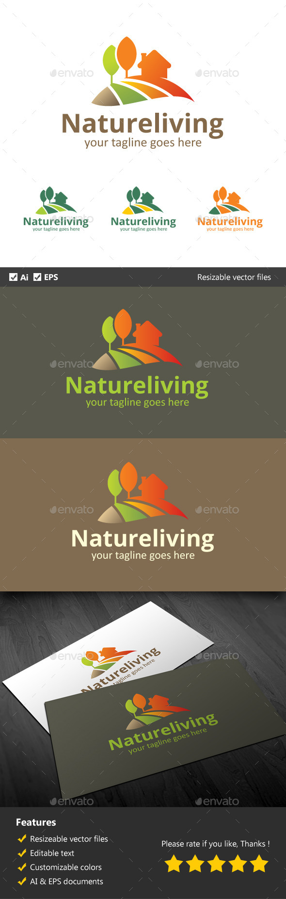 Natural Living - Buildings Logo Templates