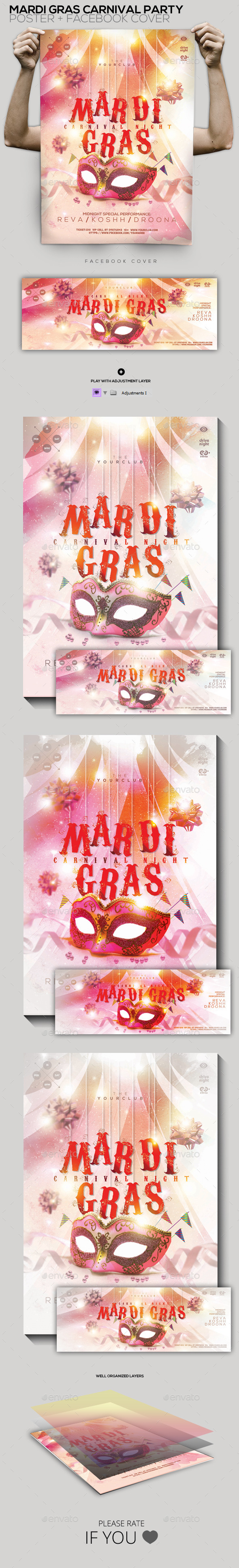 Mardi Gras Carnival Party Flyer/Poster/Facebook - Holidays Events