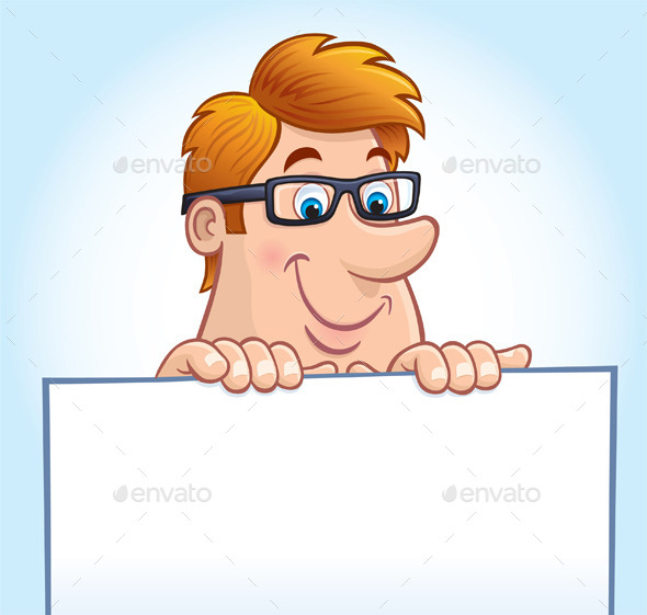 Man Peeking Over A Blank Sign - People Characters