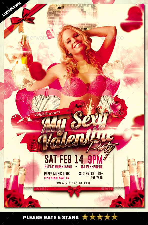 My Sexy Valentine Party Flyer Template - Clubs & Parties Events