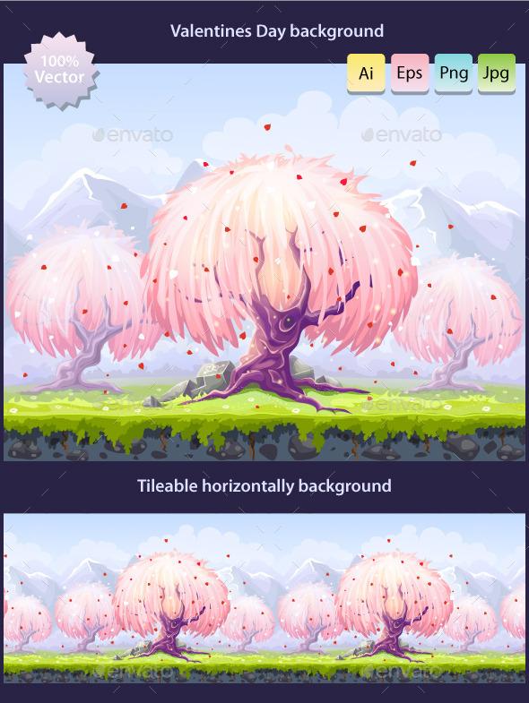 Tillable Valentine's Day background - Backgrounds Game Assets