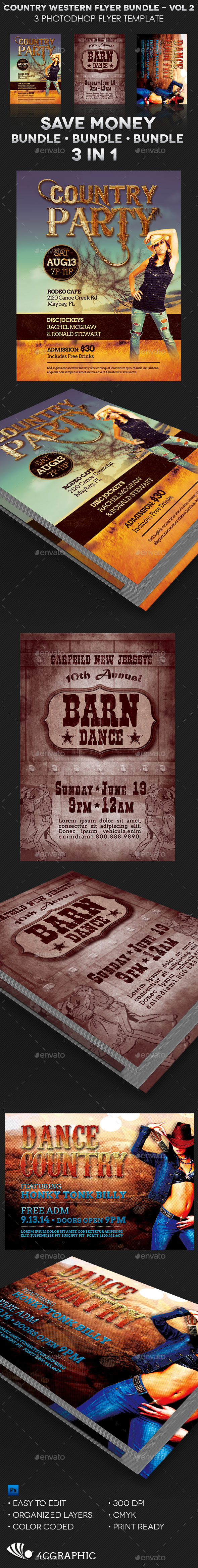 Country Western Flyer Template Bundle: Vol 2 - Clubs & Parties Events
