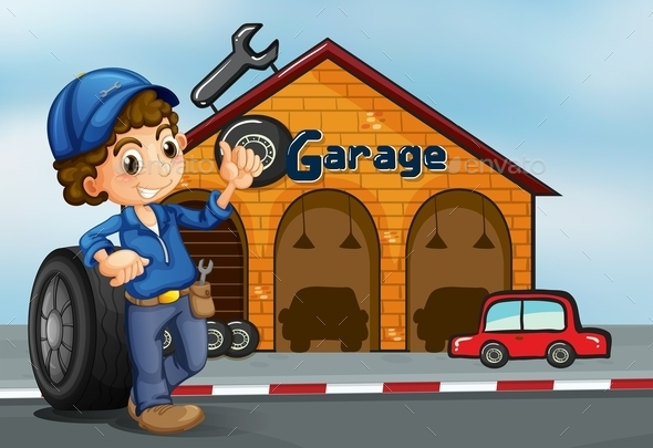 Boy Standing in Front of a Garage  - People Characters