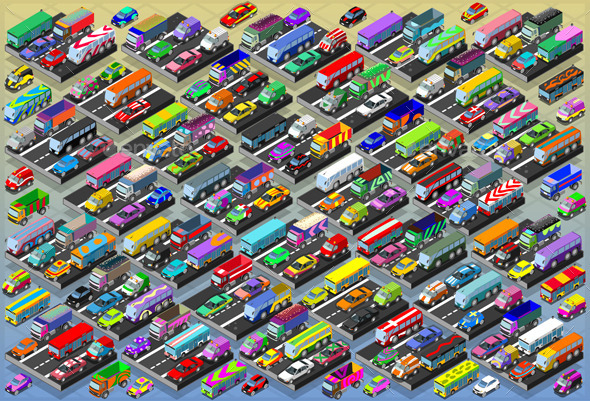 Isometric Cars, Buses, Trucks and Vans Collection - Objects Vectors