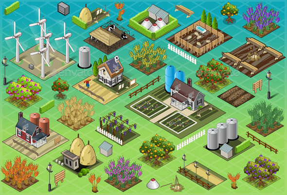 Isometric Farm Set Tiles - Buildings Objects