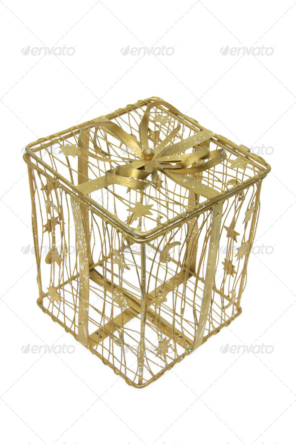 Gold Wire Gift Box - Stock Photo - Images